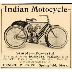 indian motorcycle prints | Ad Indian Motorcycle Hendee Springfield MA Original Print Ad: Home