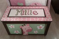 Hand Painted Giraffe Toy Box