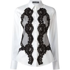 Dolce & Gabbana lace detail shirt (57.925 RUB) ❤ liked on Polyvore featuring tops, white, white summer tops, long sleeve collar shirt, long sleeve summer shirts, white long sleeve top and white long sleeve shirt