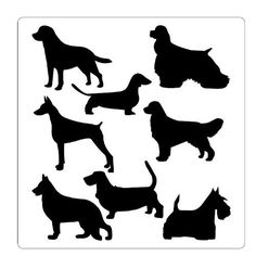 Hey dog lovers!  Decorate your walls with your favorite furry beast :))  This stencil depicts several breads, including Golden Retriever, German Sheppard, Beagle, Scottie, Dachshund, Doberman, Poodle and Hounds - Amazon.com