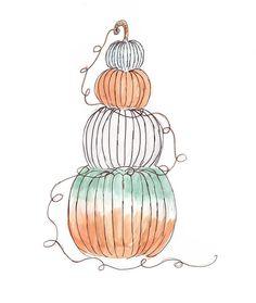 Ombre Pumpkin Autumnal Equinox, Warm Blankets, Card Stock, Digital Prints, October, Pumpkin, Colours, Watercolor, Halloween