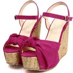 Shoespie Suede Bowtie Wedge Sandals