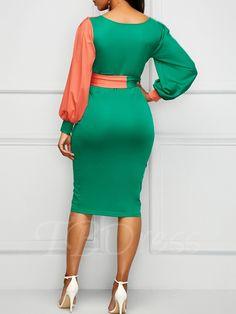 V Neck Belted Color Block Sheath Dress African Attire, African Wear, African Fashion Dresses, African Dress, Casual Dresses, Short Dresses, Bodycon Dress, Sheath Dress, Classy Dress
