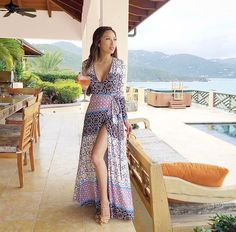 For your next island escape. @thejeanniemai rockin' our Split it Up Maxi in Marrakech Print. 🌴☀️🍸#yumikim #ykmyway