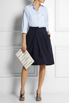 Jil Sander | Perforated leather clutch | NET-A-PORTER.COM