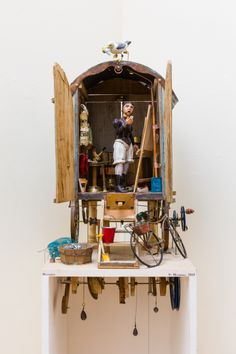 Falmouth Art Gallery | The Permanent Collection | FAMAG 2015.12 | Henshall, Fi: Winifred, signed and dated 2015, automaton, 141 x 38 x 25. © of the artist. Miniature, Kinetic Art, Assemblages, Tin Toys, Wood Sculpture, Altered Art, Benches, Gears, Art Gallery