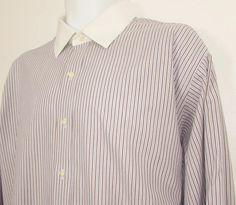 Men Brooks Brothers Striped Dress Shirt White Collar French Cuffs sz 17 1/2 X 33 #BrooksBrothers
