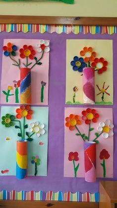 Beautiful wall decoration made of toilet paper rolls: flower vase with content. - Beautiful wall decoration made of toilet paper rolls: flower vase with content. Diy Paper Crafts how to make paper vase diy craft Kids Crafts, Spring Crafts For Kids, Summer Crafts, Toddler Crafts, Preschool Crafts, Easter Crafts, Diy For Kids, Arts And Crafts, Easter Decor