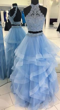 TWO PIECES OPEN BACK LACE ORGANZA RUFFLE LONG EVENING PROM DRESSES PG579  #organza #promdresses #twopiece #promdress