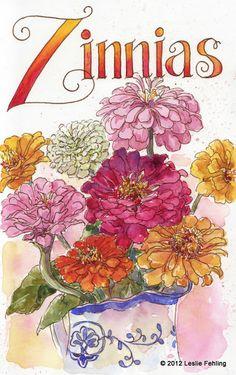 Zinnias, watercolor over gray ink . by Leslie Fehling Watercolor Journal, Watercolor And Ink, Watercolour Painting, Watercolor Flowers, Watercolors, Watercolor Portraits, Watercolor Landscape, Watercolor Artists, Art Sketchbook