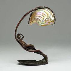 Art Nouveau, Table Lamp C. Bonnefond