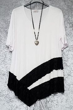 QUIRKY WHITE/BLACK ARTSY SOFT JERSEY LONG SWING TUNIC LAGENLOOK TOP by UNIQUE