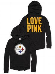 Stand out in the stands in the Slouchy Bling Hoodie from Victoria's Secret PINK. This long-sleeve pullover hooded sweatshirt is the must-have for every fashionable fan. You'll love the comfy, drapey fit and the sparkly sequin graphics on the front. Steelers Hoodie, Steelers Gear, Steelers Football, Football Baby, Pittsburgh Steelers, Steelers Stuff, Football Things, Football Gear, Football Stuff
