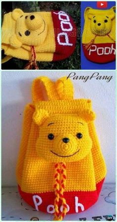 Crochet Winnie The Pooh Backpack Free Pattern [Video] - Crochet Amigurumi Winnie The Pooh Free Patterns