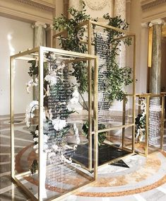 """Martha Stewart Weddings on Instagram: """"How stunning is this idea for an escort card display? ✨ Gorgeous floral arrangements were encased in modern acrylic structures which…"""" - https://www.instagram.com/p/Beiw86VHPXX/?taken-by=martha_weddings&utm_campaign=coschedule&utm_source=pinterest&utm_medium=Russell%20Street Wedding Bells, Our Wedding, Trendy Wedding, Wedding Styles, Wedding Trends, Wedding Designs, Wedding Signage, Wedding Venues, Event Signage"""