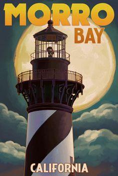 Lighthouse with Full Moon - Morro Bay, California - Lantern Press Poster