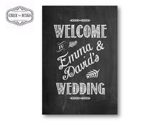 Wedding Welcome Chalkboard - personalise the entrance of your wedding ceremony or reception with a chalkboard that greets your wedding guests. Customised designs and further templates available here https://www.etsy.com/nz/listing/182376158/chalkboard-design-wedding-welcome-board?