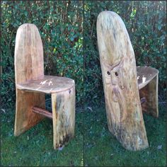 A small chair created from offcuts from chainsaw carvings Wood Chairs, Chainsaw Carvings, Furniture, Home Decor, Wooden Chairs, Decoration Home, Room Decor, Home Furnishings, Home Interior Design
