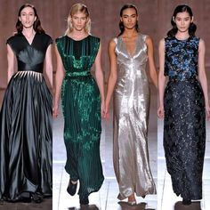 ZacPosen in #NYFW Fabrics with metallic colors are the basis for drawing up the party looks brand.