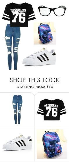 """""""Alicia"""" by liviamf ❤ liked on Polyvore featuring Topshop, Boohoo, adidas and Crystal"""