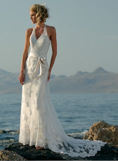Custom Made Embroidered Motifs Bow Halter Floor Length White Illusion Lace Summer Beach Bridal Gowns