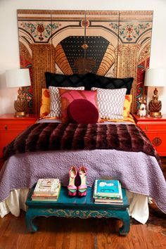 My favorite room decor ever. Jane Aldridge's Bedroom | pattern mixing | home decor