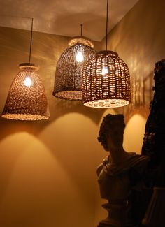 Basket lights from Pottery Barn. Industrial Pendant Lights, Pendant Lighting, Basket Lighting, Diy Light Fixtures, Traditional Bedroom, Houzz, Light Up, Guest Room, Lanterns