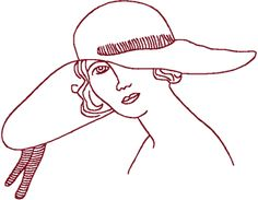 Redwork Flapper in Large Hat Embroidery Design