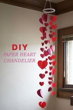 Encantador DIY Paper Heart Chandelier: Hang this easy and cute paper heart chandelier over . DIY Paper Heart Chandelier: Hang this ea. Diy Valentine's Day Decorations, Valentines Day Decorations, Valentines Day Party, Valentine Day Crafts, Holiday Crafts, Decor Ideas, Valentine Stuff, Homemade Valentines, Decor Diy