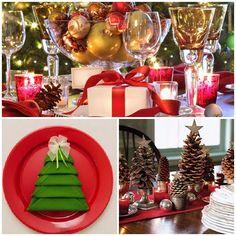A simple method of folding napkins at Christmas table