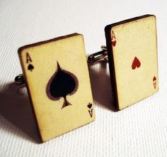Gotta get me some of these for Vegas!!!Ace of Spades and Ace of Hearts vintage style playing cards on silver cufflinks in gift box $13.
