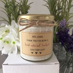 Handmade And Personalised Teacher Thank You Candle Gift  | eBay