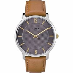 Shop for Timex Men's Metropolitan Skyline Brown/Grey Leather Strap Watch. Get free delivery On EVERYTHING* Overstock - Your Online Watches Store! Brown Leather Watch, Grey Leather, Leather Men, Mens Watches Leather, Watches For Men, Grey Watch, Timex Watches, Online Watch Store, Modern Man