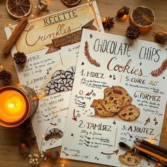 autumn leaves falling down like pieces into place autumn leaves falling down li Homemade Recipe Books, Recipe Book Design, Scrapbook Recipe Book, Recipe Drawing, Bullet Journal School, Food Journal, Food Drawing, Bullet Journal Inspiration, Cookies Et Biscuits