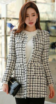 StyleOnm_Tweed Long Jacket #black #white #elegant #feminine #officelook #koreanfashion #kstyle #kfashion #jacket