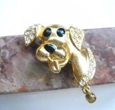 Dog Brooch Vintage Dog Puppy Gold Tone Clear Pave' Set