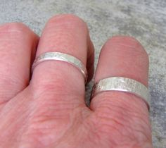 Wedding Band Set Hammered Silver Wedding Rings by SilverSmack