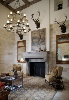 Hunting room for Matt in future house. Instead of mirrors on either side of fireplace , bookshelves Italian Farmhouse, Trophy Rooms, Enchanted Home, Living Spaces, Living Rooms, Living Area, Great Rooms, Future House, Custom Homes