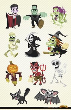 Set of Halloween cartoon characters; it includes Dracula, Frankenstein's Monster, ghost, mummy, grim reaper, witch, scarecrow, devil, skeleton, black cat and bat. These are perfect vectors to use in any promo related to Halloween celebration or horror stuff. High quality JPG included. Under Commons 4.0. Attribution License.