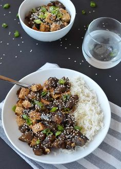 Eggplant Teriyaki Stir-Fry with Tofu! Vegan & GlutenFree, this healthy dinner is ready in less than 30 minutes. Vegan Eggplant Recipes, Eggplant Dishes, Tofu Recipes, Healthy Dinner Recipes, Asian Recipes, Vegetarian Recipes, Vegan Meals, Mini Eggplant Recipe, Yummy Recipes