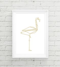 Instant download poster, Poster geometric Flamingo gold, gold, Poster, triangle…
