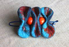 Felted wool Brooch / shawl pin - kilt pin -bahama blue orange  - artsy -  lagenlook - Quirky gifts