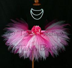 "Pink Tutu - Baby Tutu - Girls Birthday Tutu - Candy Coated - Sewn 8"" Pixie Tutu - Newborn to 12 months -  Infant Toddler Photo Prop Skirt"