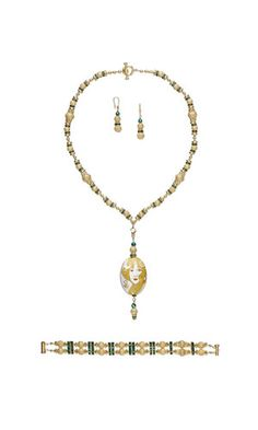 Convertible Single-Strand Necklace, Bracelet and Earring Set with Gold-Plated Brass Beads, Cloisonné Beads and Seed Beads