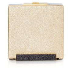 Halston Heritage Large Box Minaudiere ($345) ❤ liked on Polyvore featuring bags, handbags, clutches, gold multi, gold purse, special occasion clutches, glitter purse, cocktail purse and evening purse