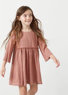 Gestippelde jurk met franjes - Kinderen | MANGO Kids Nederland