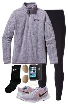 """Going on a hike"" by keileeen ❤ liked on Polyvore featuring NIKE, Charlotte Russe, Patagonia, Ray-Ban, women's clothing, women's fashion, women, female, woman and misses"
