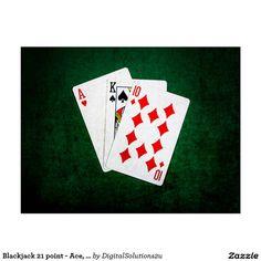 Blackjack 21 point - Ace, King, Ten Postcard