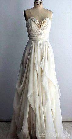 ivory strapless sweetheart A line chiffon by Lemandyweddingdress, $238.00