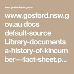 au docs default-source Library-documents a-history-of-kincumber---fact-sheet. Document, Family History, Facts, Math Equations, Genealogy